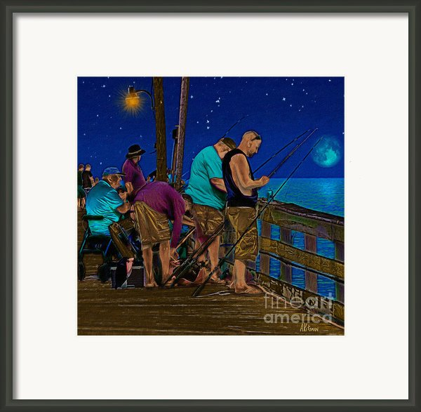 A Little Night Fishing At The Rodanthe Pier 2 Framed Print By Anne Kitzman
