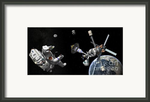 A Mars Cycler Travels By The Earth Framed Print By Walter Myers