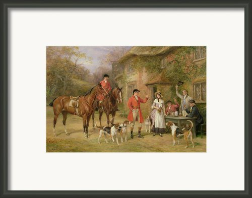 A Meeting At The Three Pigeons Framed Print By Heywood Hardy