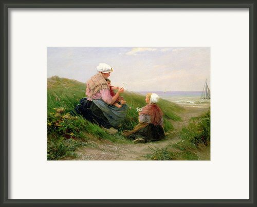 A Mother And Her Small Children Framed Print By Edith Hume