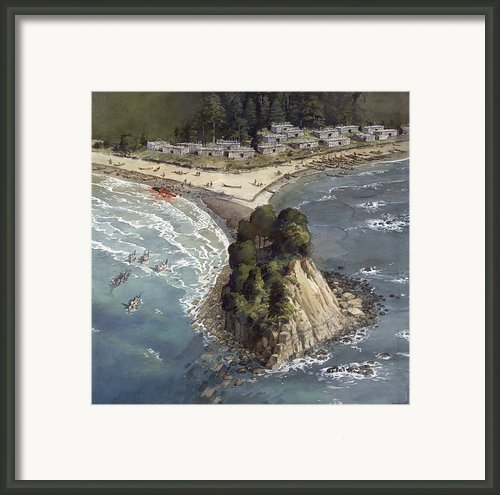 A Painting Depicts A Makah Indian Framed Print By Richard Schlecht