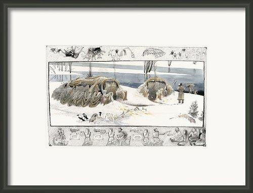 A Painting Depicts Ice Age People Framed Print By Jack Unruh