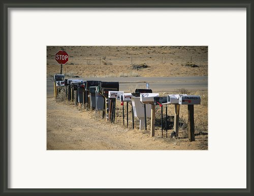 A Parade Of Mailboxes On The Outskirts Framed Print By Stephen St. John