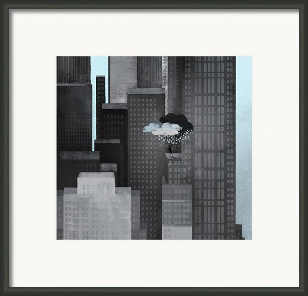 A Person On A Skyscraper Under A Storm Cloud Getting Rained On Framed Print By Jutta Kuss