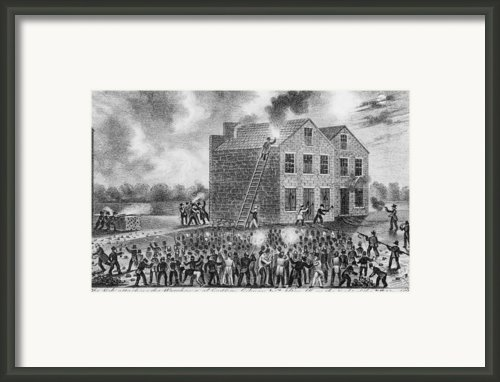 A Pro-slavery Mob Burning Framed Print By Everett