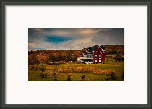 A Red Farmhouse In A Fallscape Framed Print By Chantal Photopix