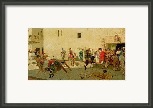 A Roman Street Scene With Musicians And A Performing Monkey Framed Print By Modesto Faustini