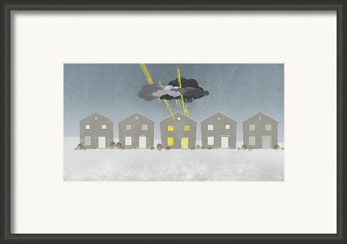 A Row Of Houses With A Storm Cloud Over One House Framed Print By Jutta Kuss