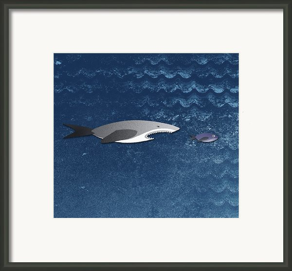 A Shark Chasing A Smaller Fish Framed Print By Jutta Kuss