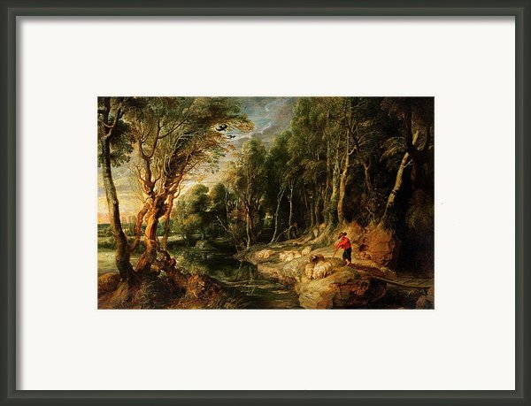 A Shepherd With His Flock In A Woody Landscape Framed Print By Rubens