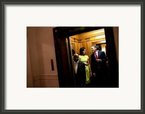 A Smiling President Obama Holds Framed Print By Everett