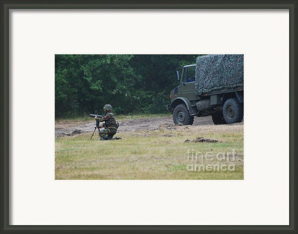 A Soldier Of The Belgian Artillery Unit Framed Print By Luc De Jaeger
