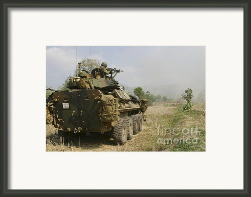 A U.s. Marine Uses An M-240b Machine Framed Print By Stocktrek Images