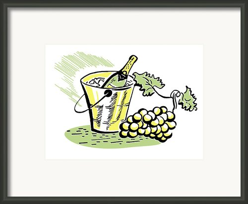A Vintage Illustration Of A Bottle Of Wine And Fresh Grapes Framed Print By Coco Flamingo