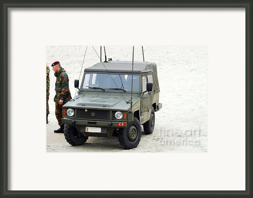 A Vw Iltis Jeep Of A Unit Of Belgian Framed Print By Luc De Jaeger