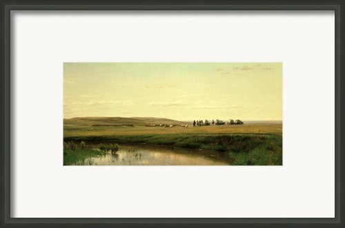 A Wagon Train On The Plains Framed Print By Thomas Worthington Whittredge