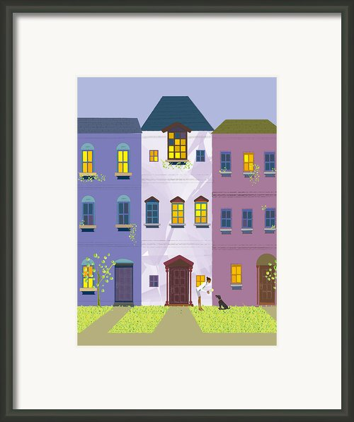 A Woman Playing With Her Dog And A Ball In A Front Yard Framed Print By Ikuo Tohda