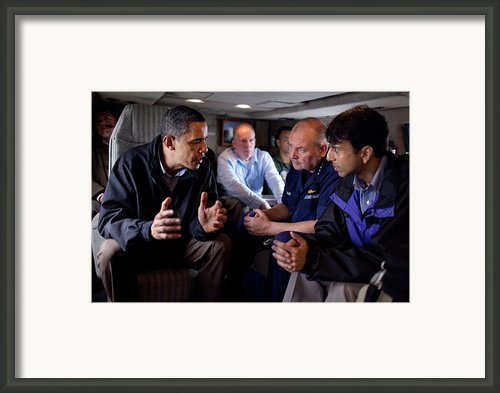 Aboard Marine One President Obama Meets Framed Print By Everett