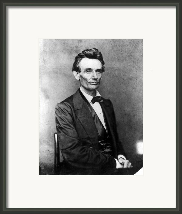 Abraham Lincoln 1860portrait By B Framed Print By Everett