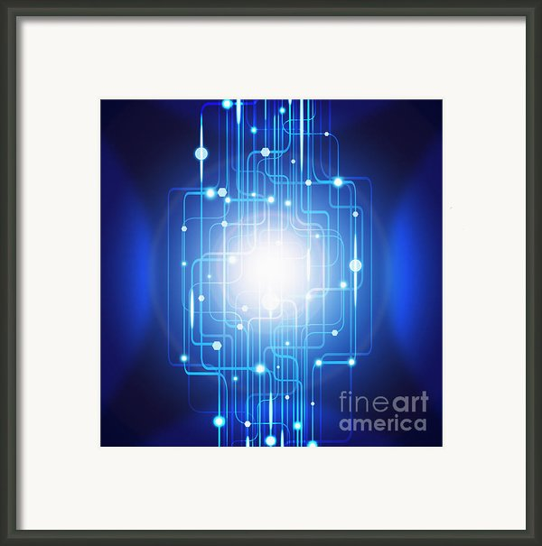 Abstract Circuit Board Lighting Effect  Framed Print By Setsiri Silapasuwanchai
