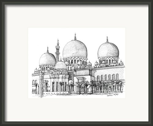 Abu Dhabi Masjid In Ink  Framed Print By Lee-ann Adendorff