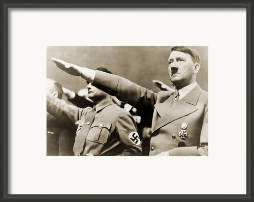 Adolf Hitler, Giving Nazi Salute. To Framed Print By Everett