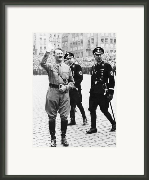 Adolf Hitler Saluting, With Two Ss Framed Print By Everett