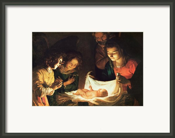 Adoration Of The Baby Framed Print By Gerrit Van Honthorst