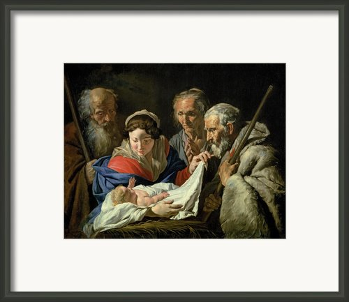 Adoration Of The Infant Jesus Framed Print By Stomer Matthias