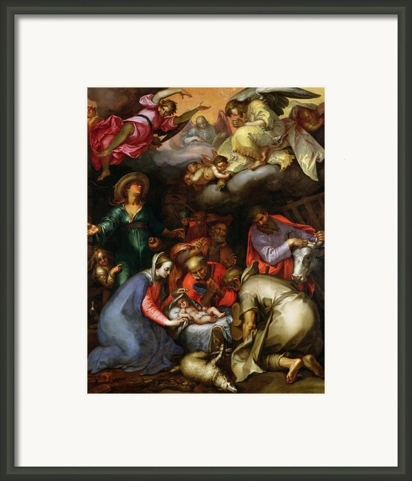Adoration Of The Shepherds Framed Print By Abraham Bloemaert