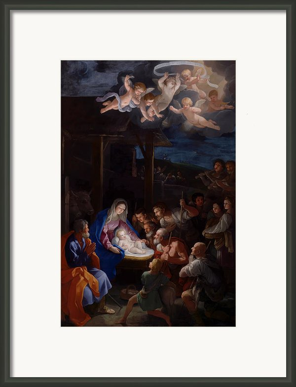 Adoration Of The Shepherds Framed Print By Guido Reni