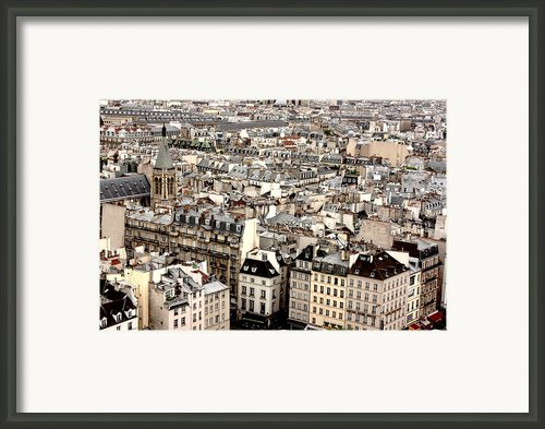 Aerial View Of Paris Framed Print By Landscape And Urban Landscape
