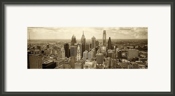 Aerial View Philadelphia Skyline Wth City Hall Framed Print By Jack Paolini