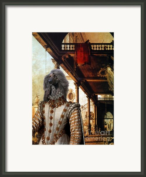 Afghan Hound-capriccio Of Colonade And The Courtyard Of A Palace Canvas Fine Art Print Framed Print By Sandra Sij