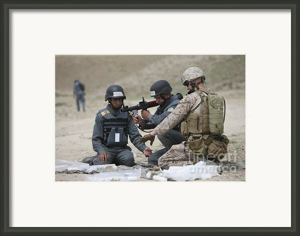 Afghan Police Students Assemble A Rpg-7 Framed Print By Terry Moore