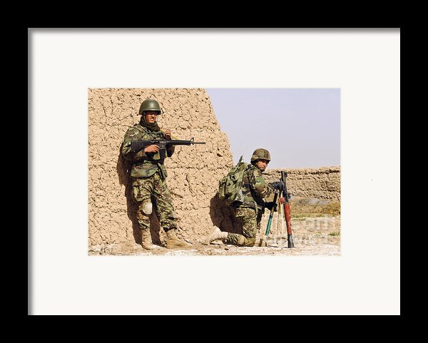 Afghan Soldiers Conduct A Dismounted Framed Print By Stocktrek Images