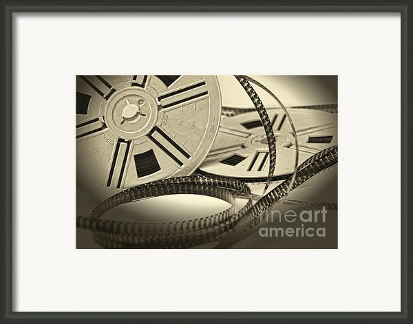 Aged Vintage 8mm Film Movie Framed Print By Gualtiero Boffi