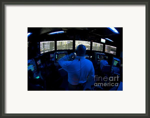Air Traffic Controller Watches Framed Print By Stocktrek Images