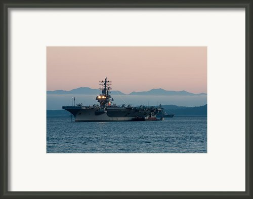 Aircraft Carrier At Sunset - Uss Ronald Reagan Framed Print By Matt Dobson