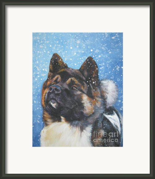 Akita In Snow Framed Print By L A Shepard