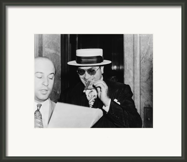 Al Capone, With A Cigar And A Big Framed Print By Everett