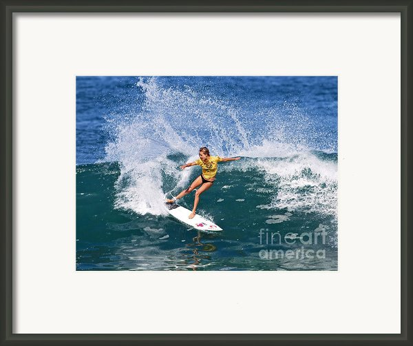 Alana Blanchard Surfing Hawaii Framed Print By Paul Topp