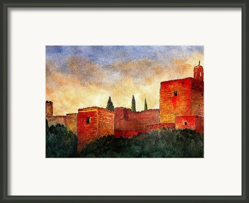 Alhambra At Sunset Framed Print By Barbara Smith
