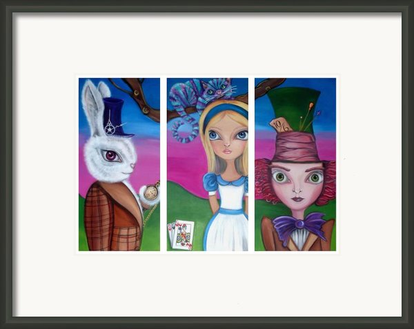 Alice In Wonderland Inspired Triptych Framed Print By Jaz Higgins