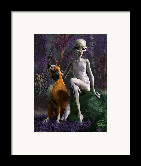 Alien And Dog Framed Print By Daniel Eskridge