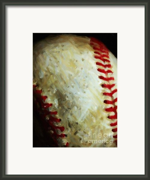 All American Pastime - Baseball - Vertical Cut - Painterly Framed Print By Wingsdomain Art And Photography