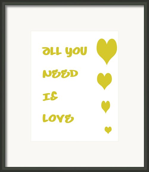 All You Need Is Love - Yellow Framed Print By Nomad Art And  Design