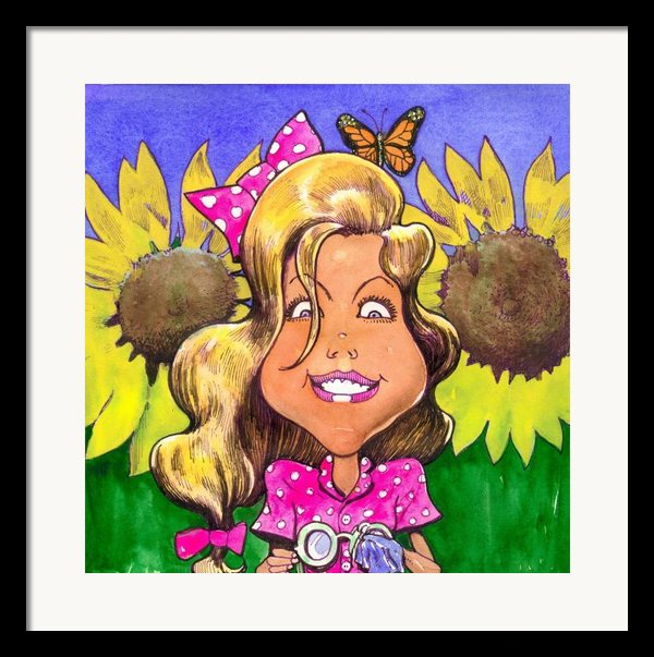 Amelia In Sunflowers Framed Print By Robert  Myers