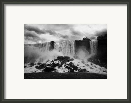 American And Bridal Veil Falls With Luna Island And Deposited Talus Niagara Falls New York State Usa Framed Print By Joe Fox