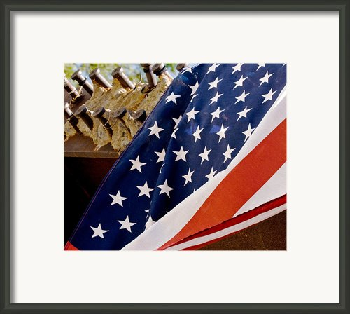 American Flag Drapped Over September 11 Memorial Framed Print By Alina  Oswald